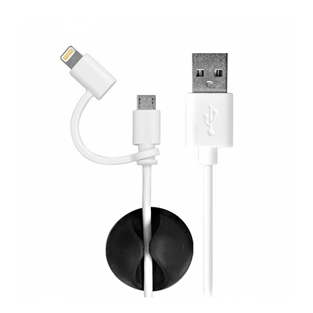 PortConnect 2in1 USB kapall (lightning+micro USB)