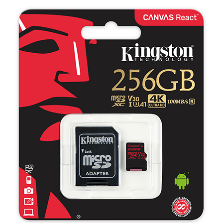 Kingston Canvas React 256GB microSD C10 UHS-I U3