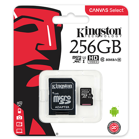 Kingston Canvas Select 256GB microSD C10 UHS-I