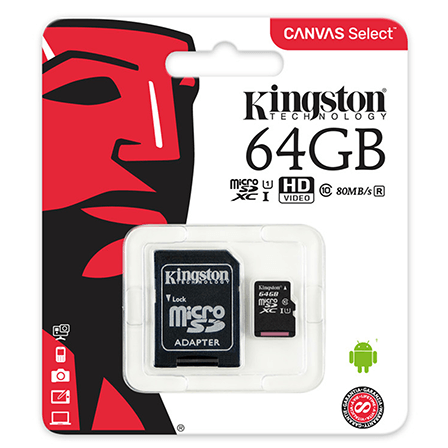 Kingston Canvas Select 64GB microSD C10 UHS-I
